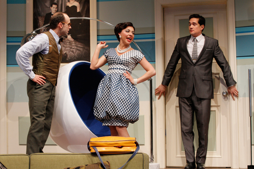 Angela DiMarco as Gabriella in Boeing Boeing, photo courtesy of Seattle Repertory Theatre