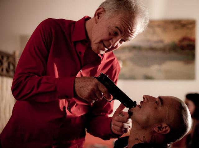 P Supremo with Paul Eenhoorn on the set of Enmity Gauge. Photo by Becka Brebner