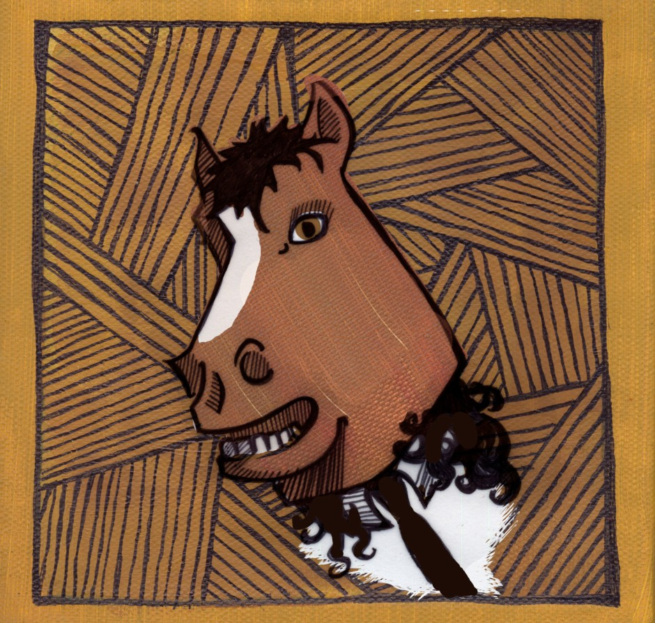 Illustration of Andrew Vait wearing his horse head, by Amy M Huber