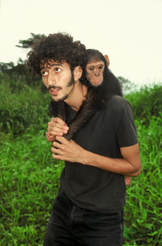 Ofir Drori and chimp stand