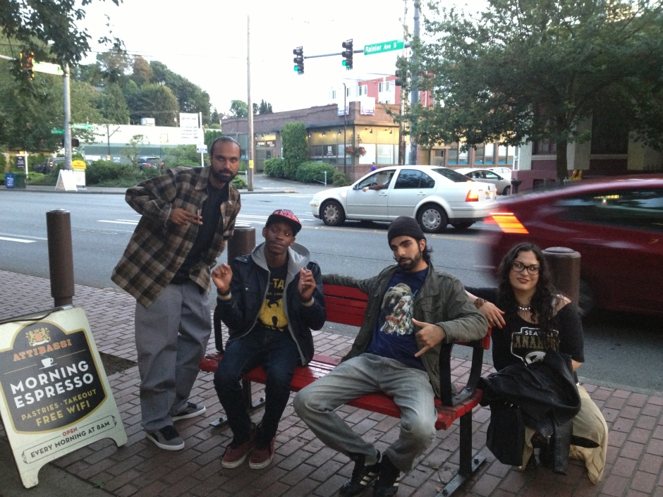 DJ Kuhnex, Pery Porter, Jamile Suleman & Julie C. outside the Columbia City Theatre, photo by Mahroo